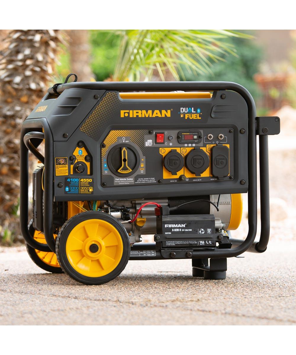 Firman 4550/3650 Watt Electric Start Hybrid Gas or Propane Dual Fuel Portable Generator