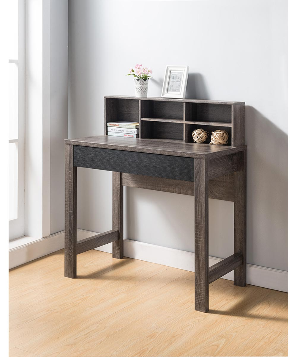 Desk with Top Storage Shelves, Distressed Gray