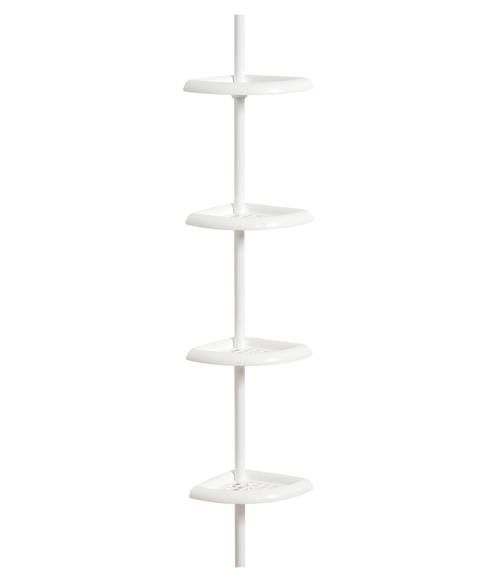 97 in. x 10.5 in. x 7.13 in. White Tension Corner Pole Caddy