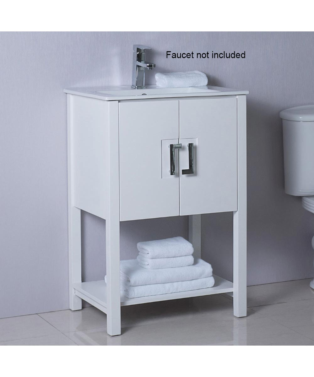 24 in. W x 18 in. D Single Sink Bathroom Vanity, White