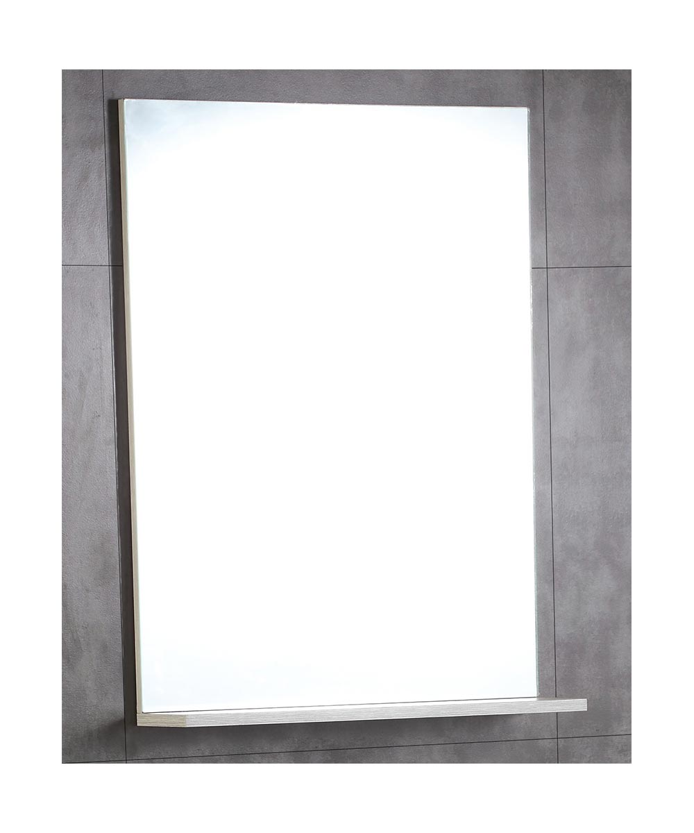 22 in. W x 30 in H Bathroom Mirror with Attached Shelf, Gray Pine