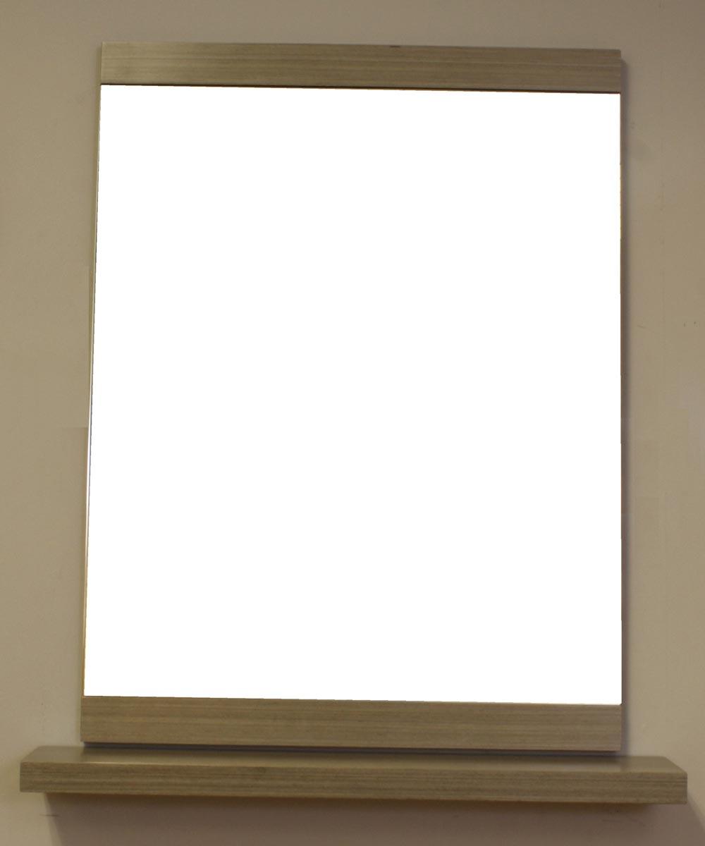 23.6 in. W x 31.5 H Bathroom Mirror with Floating Shelf, Gray
