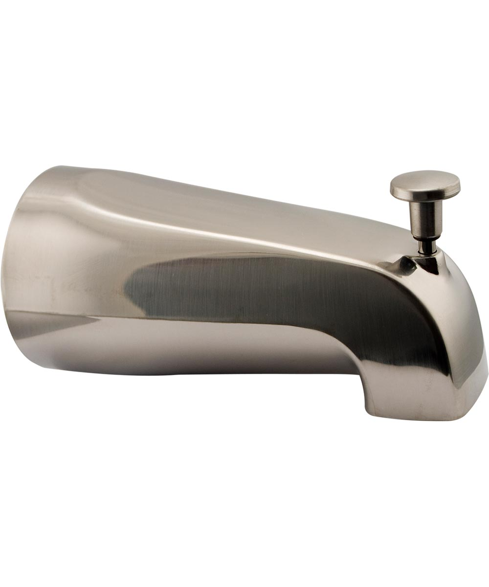Tub Spout with Diverter, Front 1/2 in. Thread, Brushed Nickel