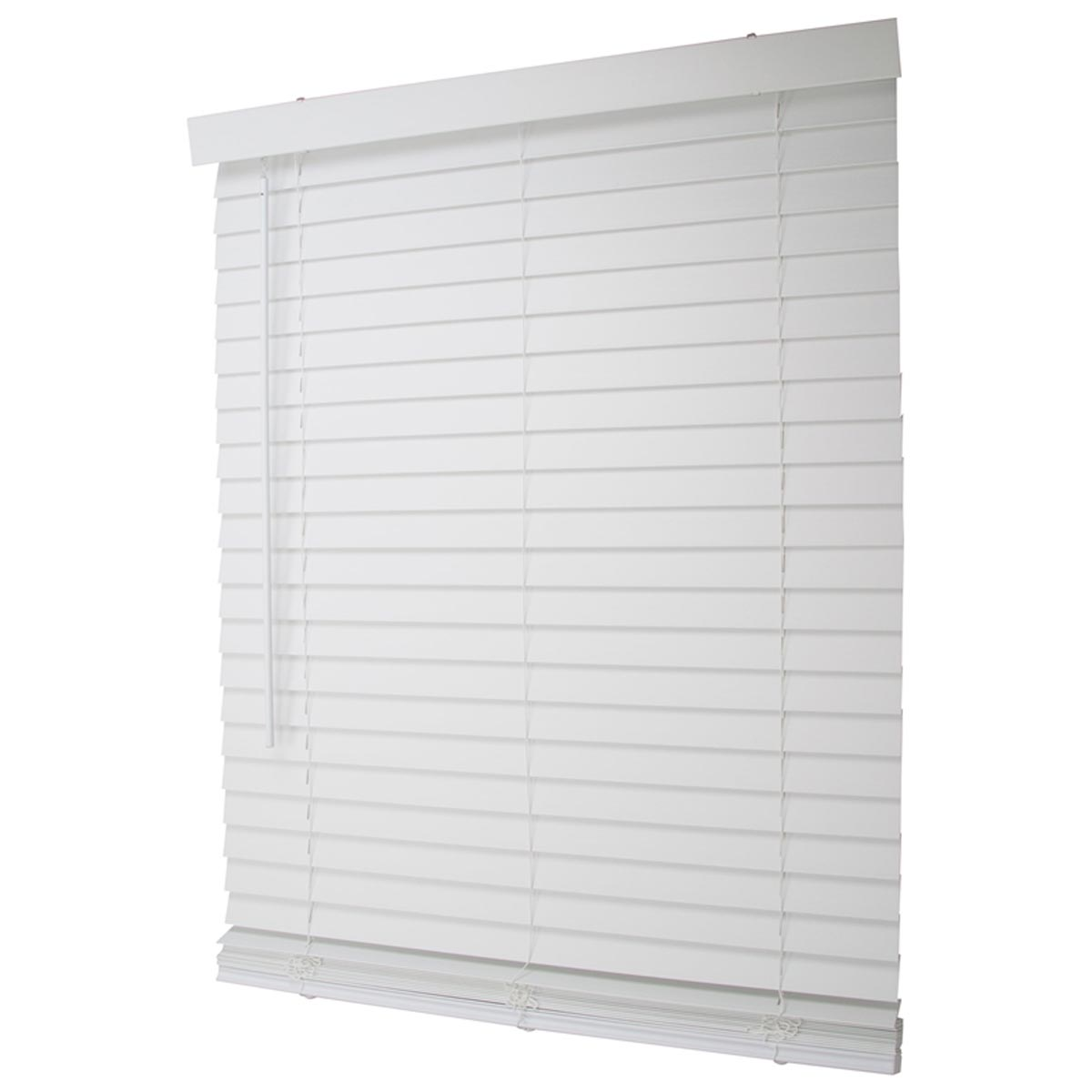 Simple Spaces Cordless Faux Wood Mini Blind, 64 in. (L) x 32 in. (W), White