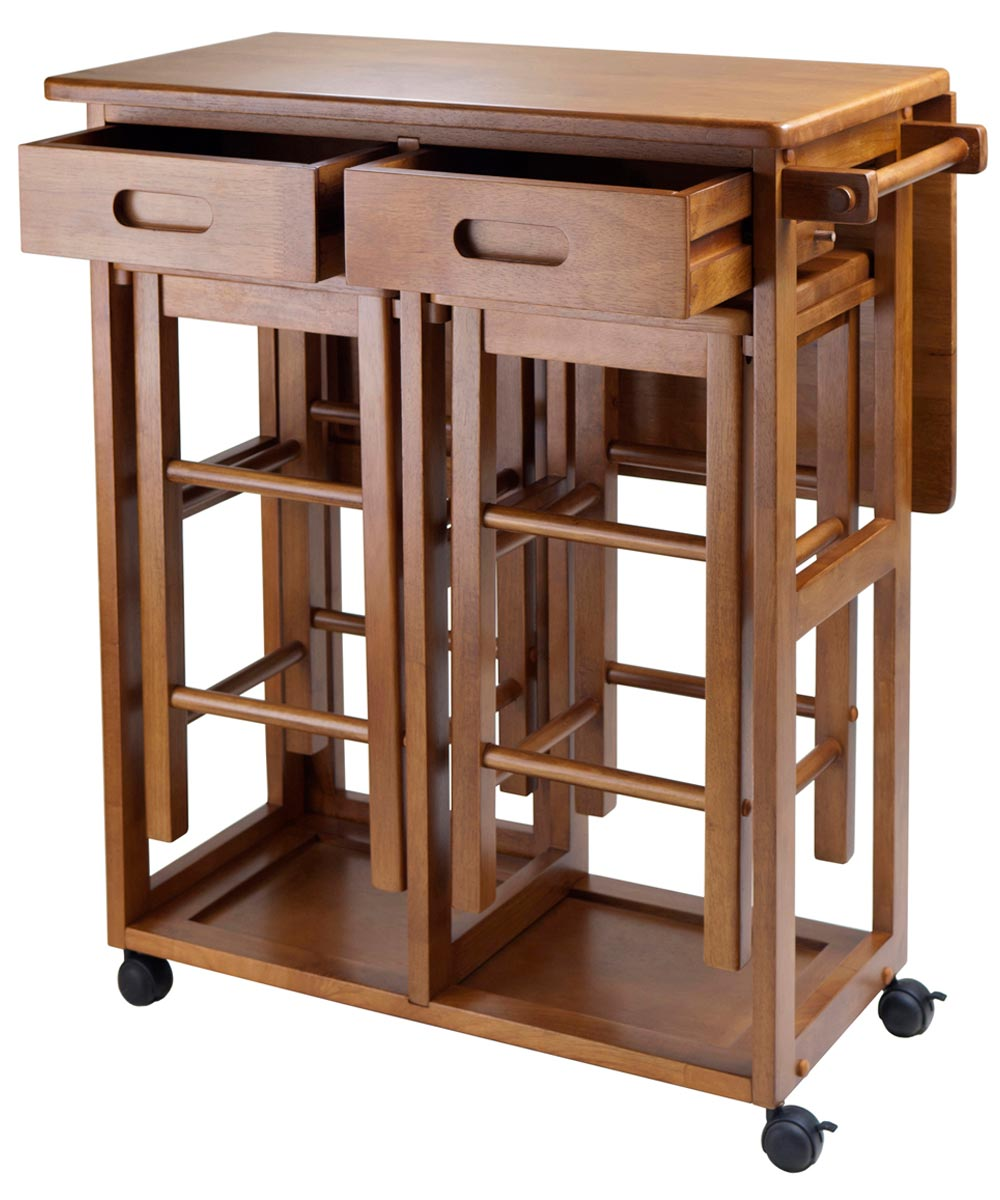 Winsome 3-Piece Wood Teak Suzanne Space Saver Rolling Table with 2 Hideaway Stools
