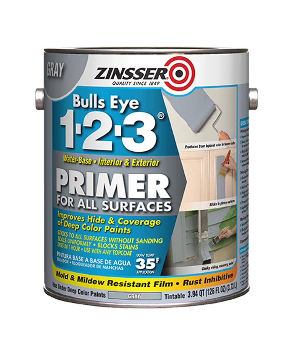 1 Gallon Zinsser Bulls Eye 1-2-3 Water-Base Gray Primer