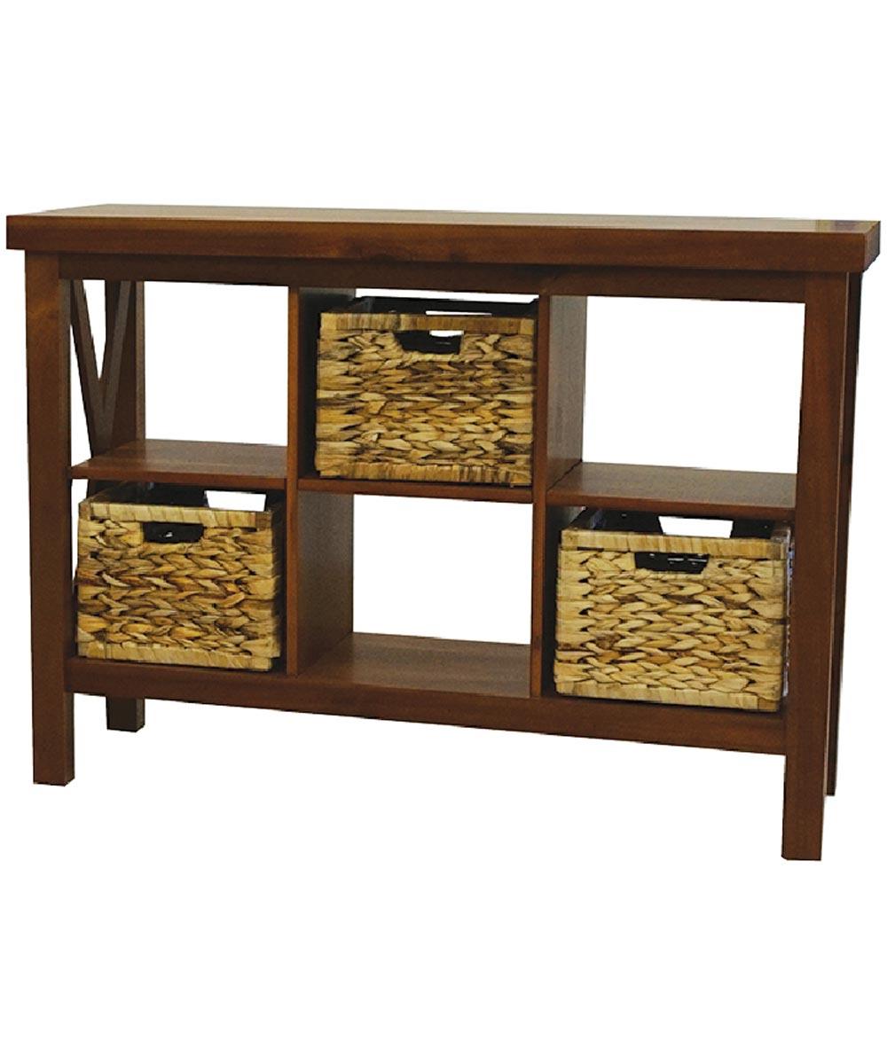 Alii Console Table with Baskets, Koa Finish
