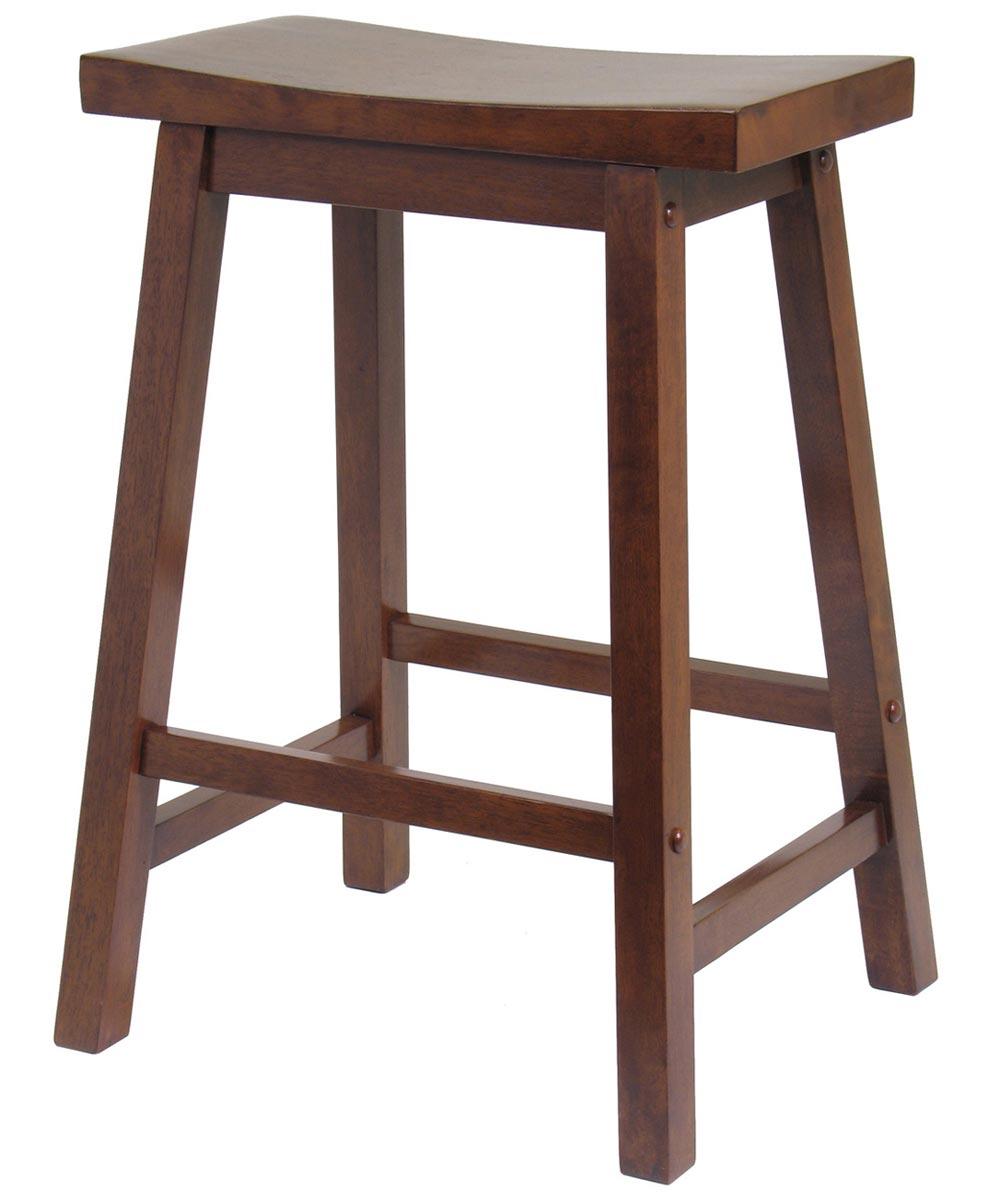 24 in. Walnut Saddle Seat Bar Stool