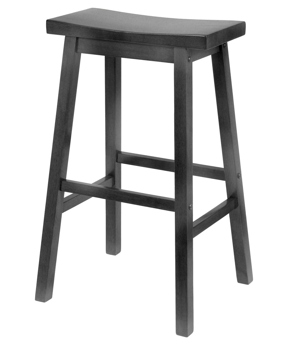 29 in. Black Saddle Seat Bar Stool
