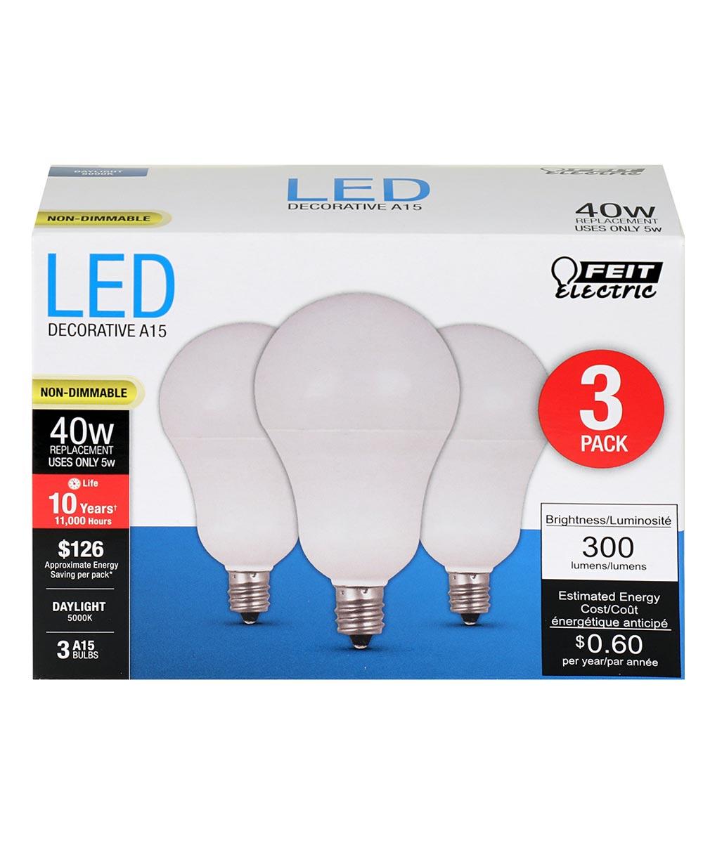 Feit Electric 5 Watt E12 A15 5000K Daylight LED Non-Dimmable Light Bulbs, 3 Pack