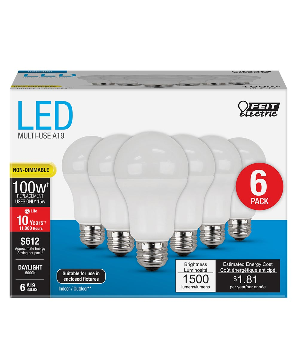 Feit Electric 15 Watt E26 A19 5000K Daylight LED Non-Dimmable Light Bulbs, 6 Pack