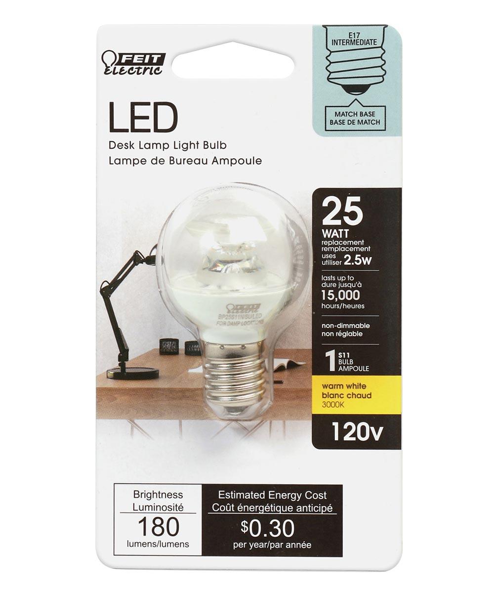 Feit Electric 2.5 Watt E17 S11 3000K Warm White LED Non-Dimmable Light Bulb