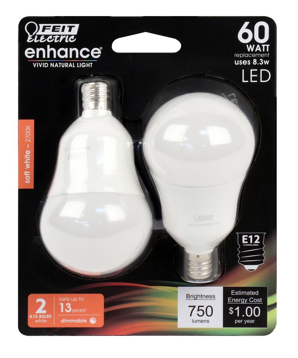 Feit Electric 8.3 Watt E12 A15 2700K Soft White LED Dimmable Light Bulbs, 2 Pack