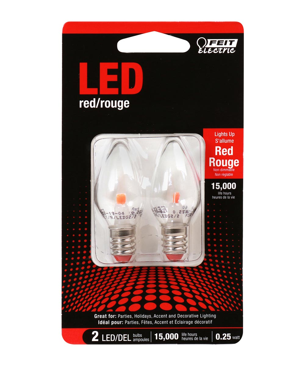 Feit Electric 0.25 Watt E12 C7 Red LED Non-Dimmable Night Light Bulbs, 2 Pack