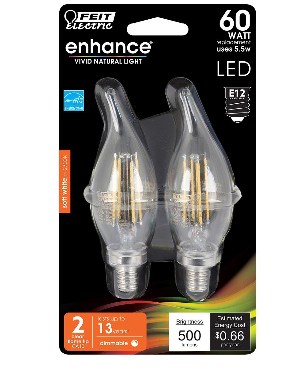 Feit Electric 5.5 Watt E12 CA10 Clear 2700K Soft White LED Dimmable Light Bulbs, 2 Pack
