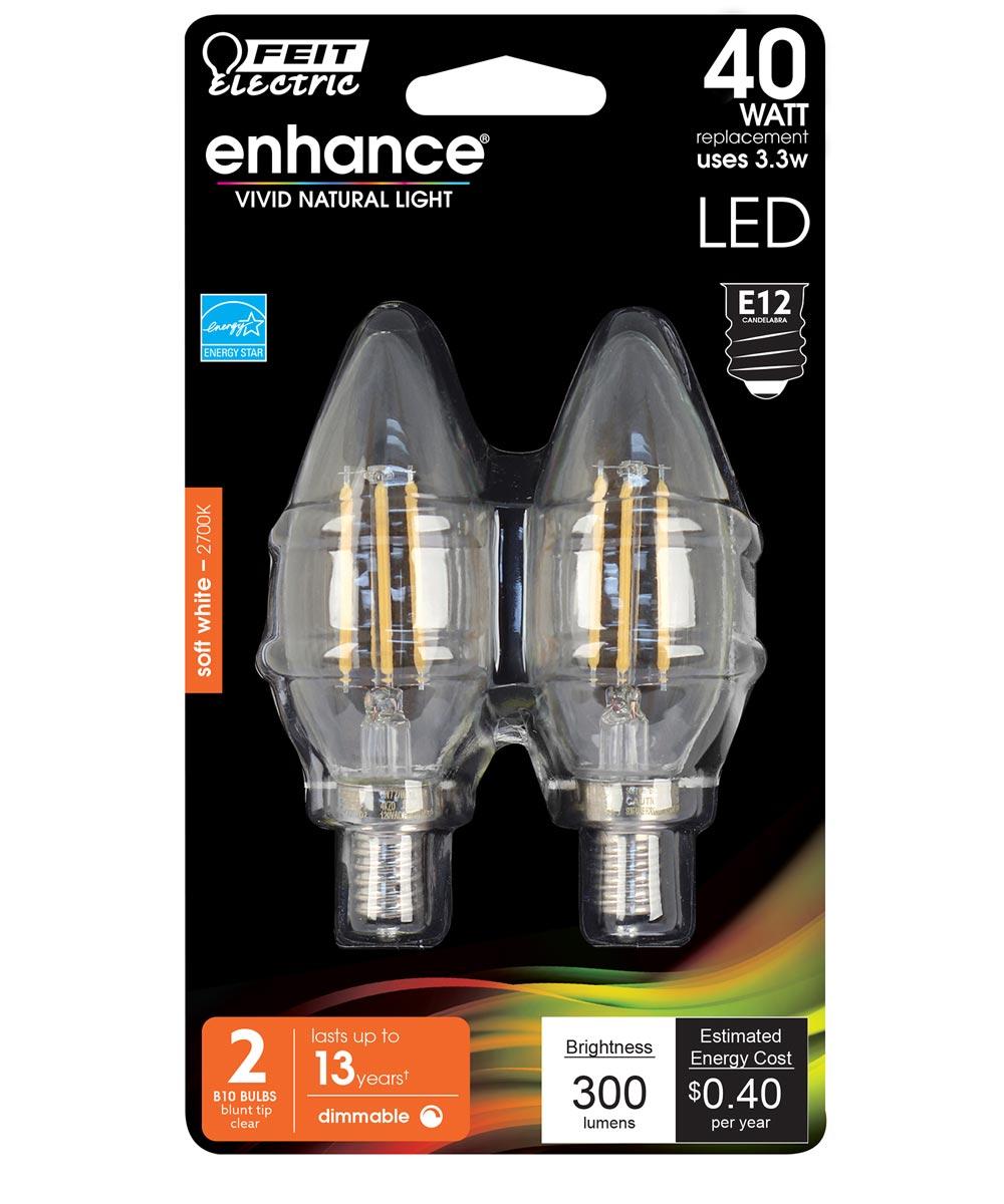 Feit Electric 3.3 Watt E12 B10 Clear 2700K Soft White LED Dimmable Light Bulbs, 2 Pack