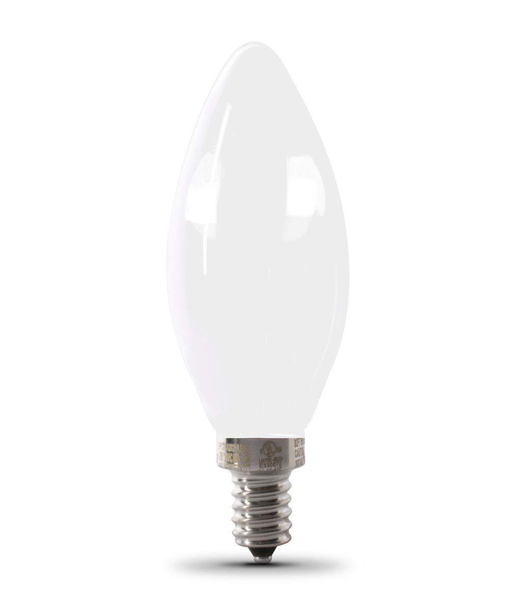 Feit Electric 3.3 Watt E12 B10 Frosted 2700K Soft White LED Dimmable Light Bulbs, 2 Pack