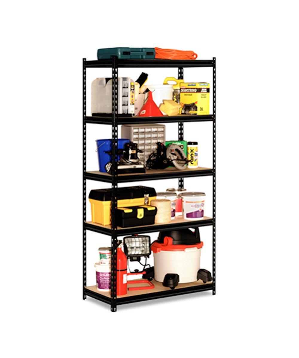 5 Shelf 18 Gauge Steel Rack, 36 in. x 72 in. x 18 in., Black Finish