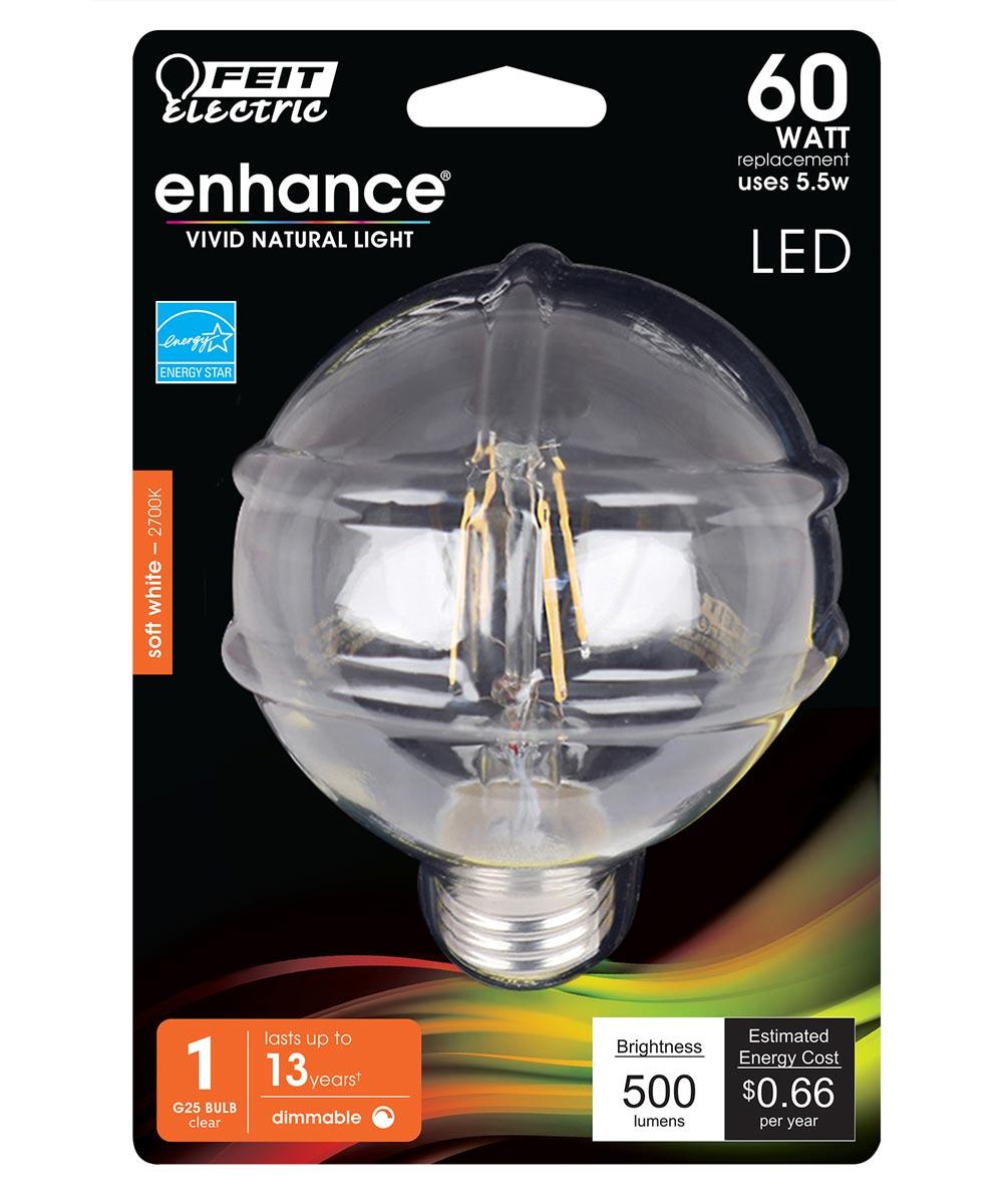 Feit Electric 5.5 Watt E26 G25 Clear 2700K Soft White LED Dimmable Light Bulb