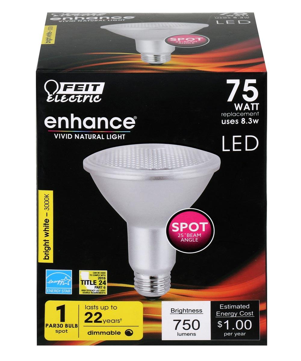 Feit Electric 8.3 Watt E26 PAR30 3000K Bright White LED Dimmable Light Bulb