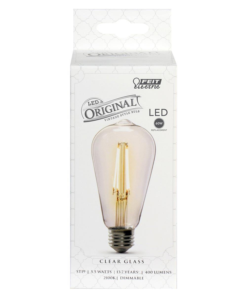Feit Electric 5.5 Watt E26 ST19 Vintage Clear Soft White LED Dimmable Light Bulb