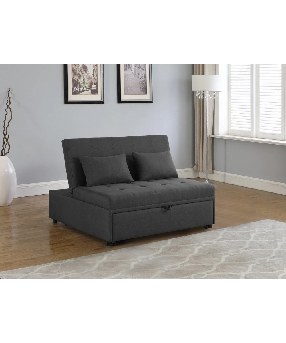 Coaster Doral Lance Tufted Upholstered Sleeper Sofa Bed, Gray