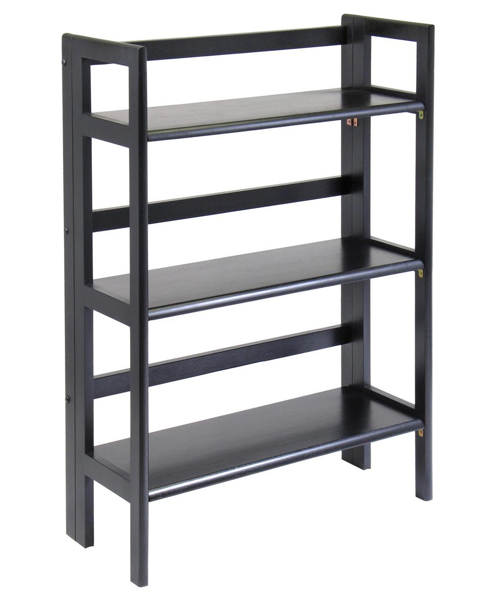 3-Tier Black Stackable Folding Book Shelf