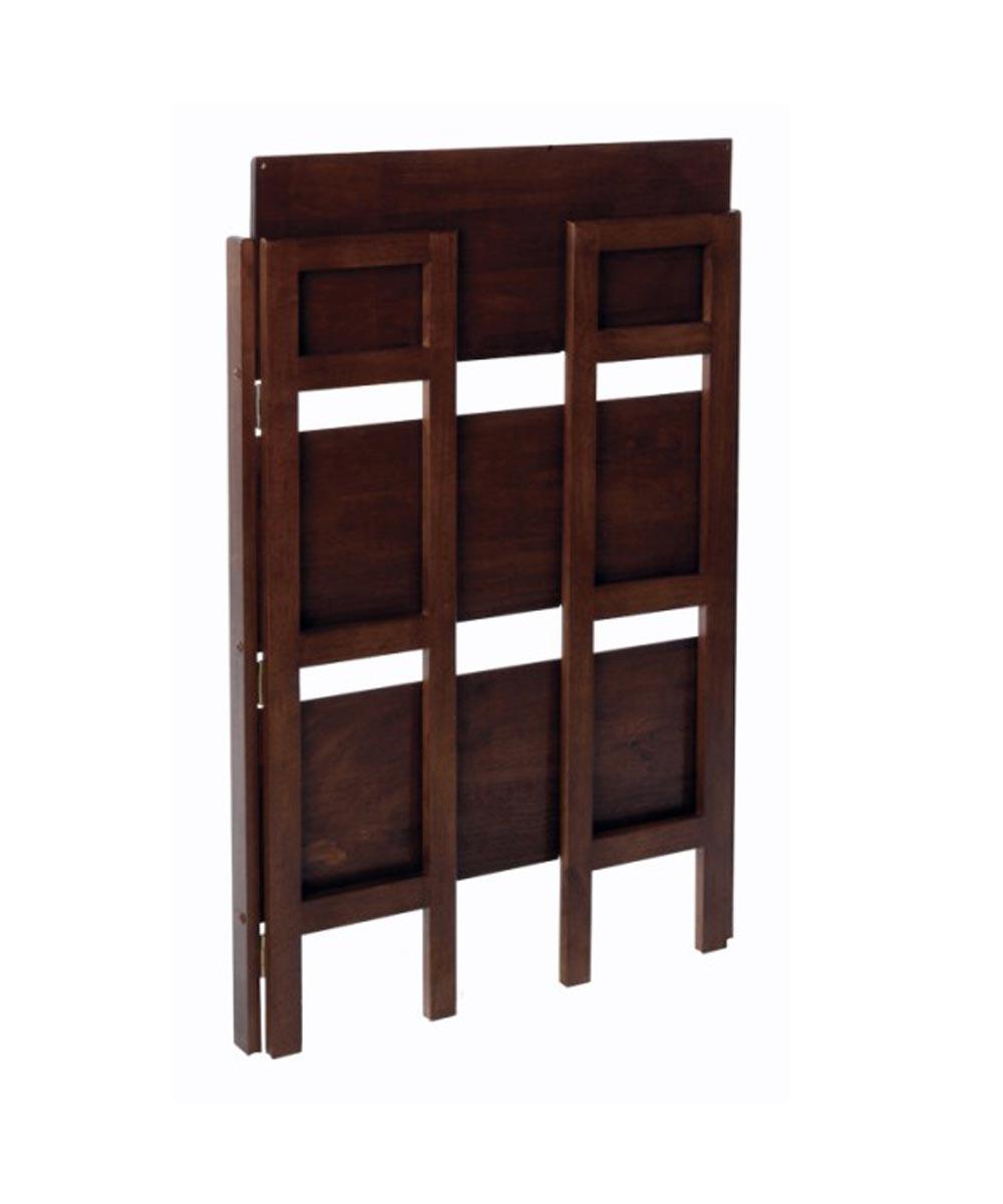 3-Tier Walnut Stackable Folding Book Shelf