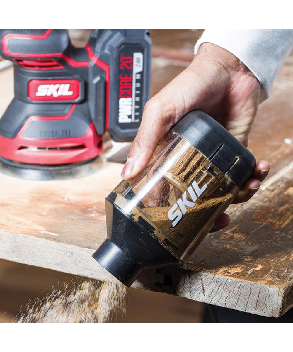 SKIL 20V Brushless Cordless Random Orbital Sander Kit with PWRCore 20 2.0Ah Battery (with Built-In PWRAssist USB Mobile Charging Port) & PWRJump Charger