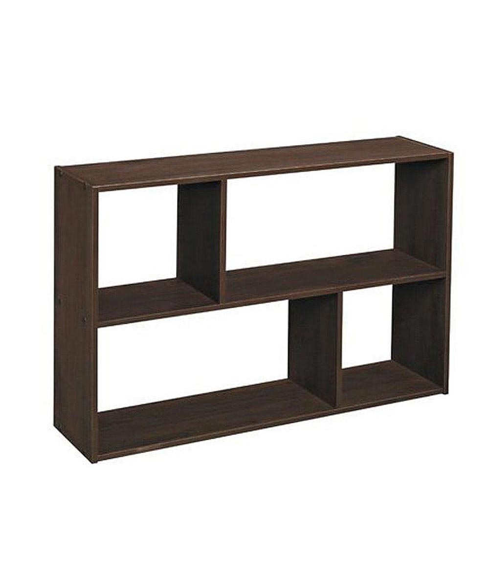 Cubeicals Mini Offset Storage Organizer Shelf, Espresso