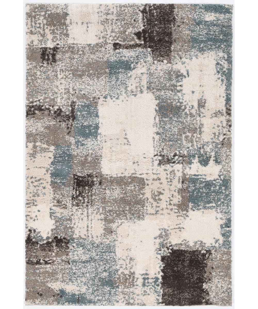 KAS 5 ft. x 7 ft. 6 in. Madison Ivory/Seafoam Spaces Area Rug
