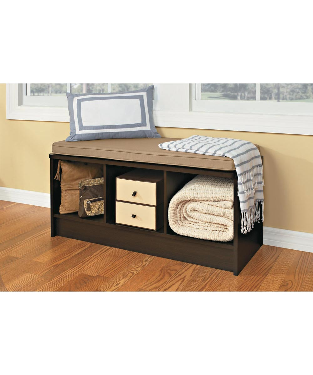 Cubeicals 3 Cube Storage Bench, Espresso Color