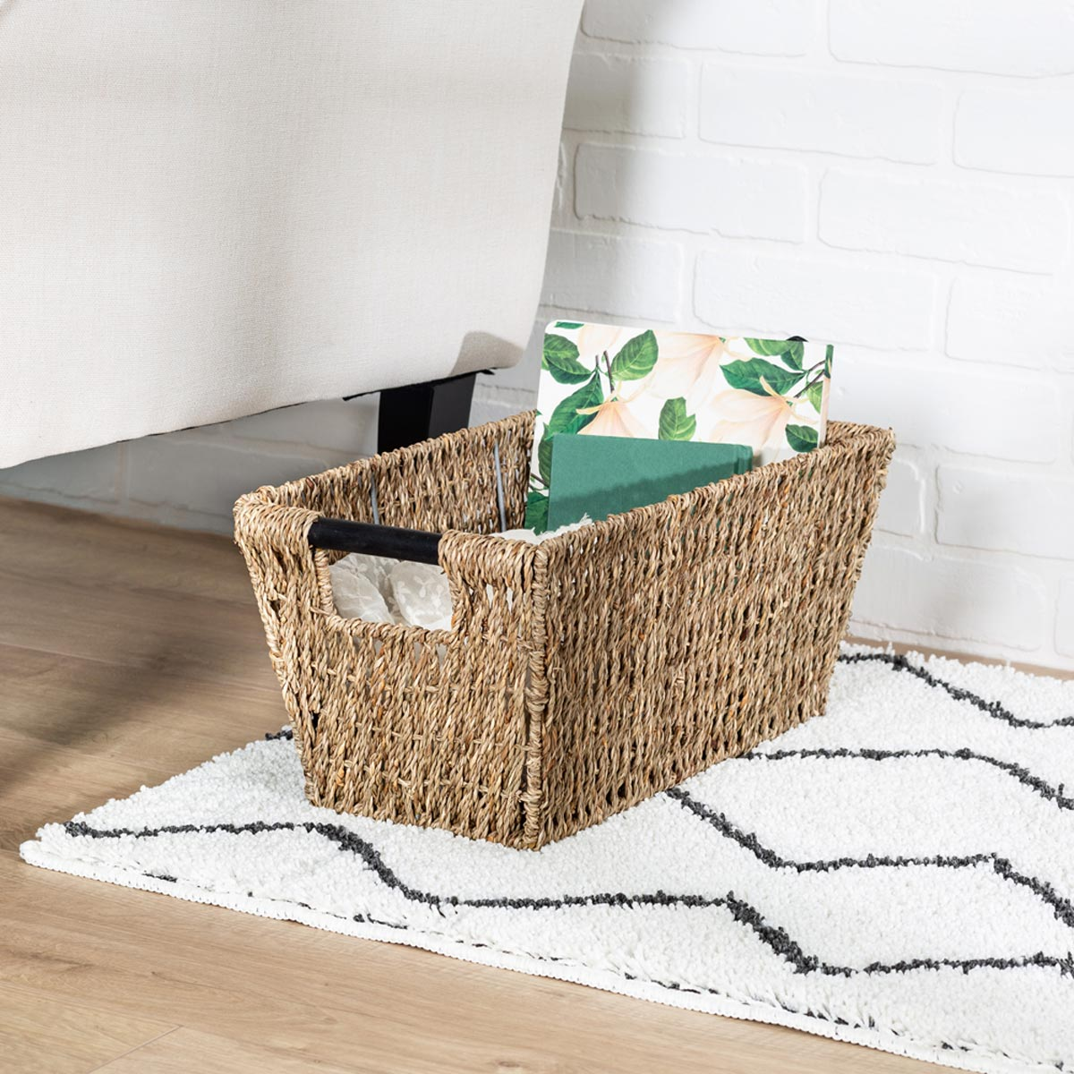 17 in. x 9 in. x 8 in. Seagrass Storage Basket with Handles, Medium
