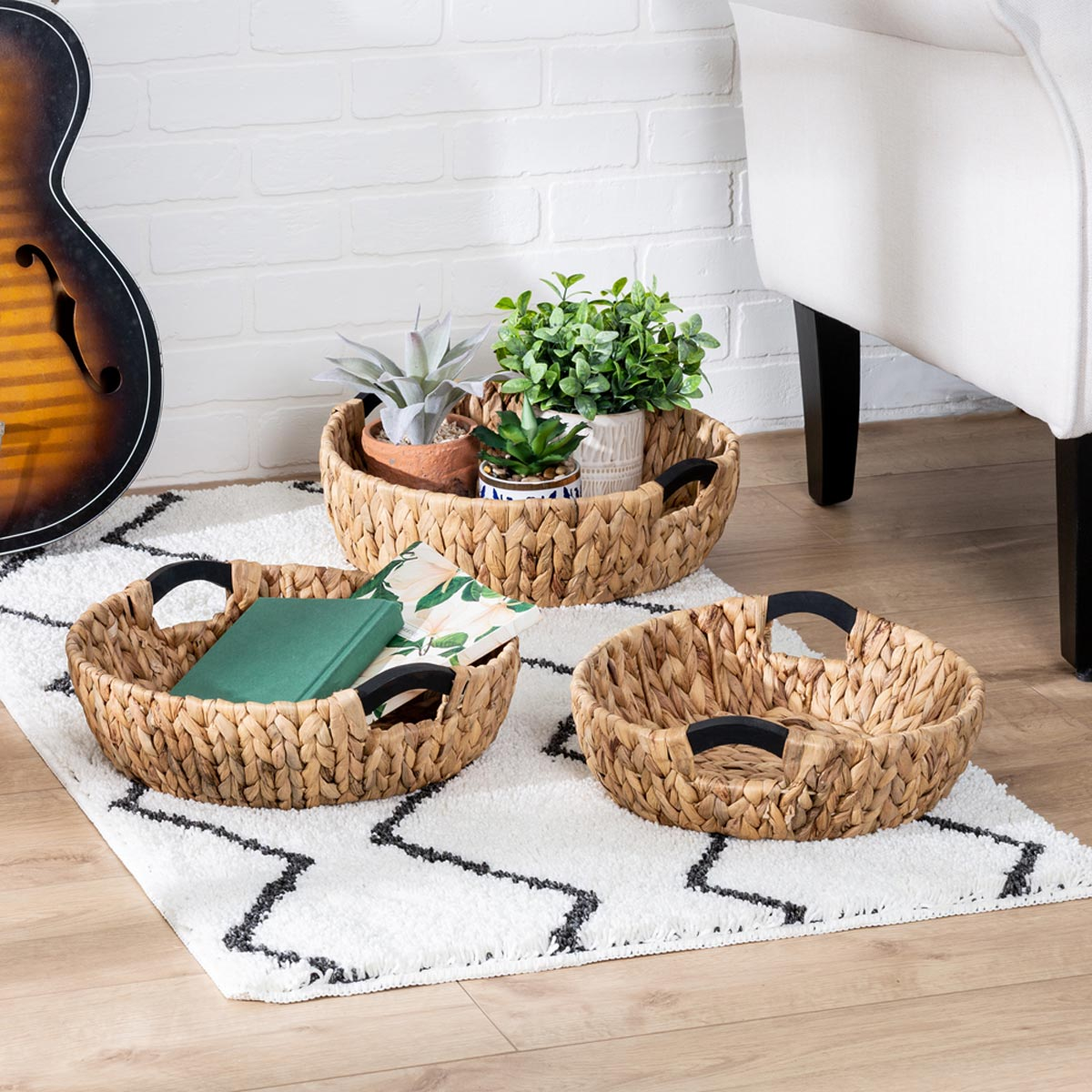 3-Piece Round Nested Natural HyacinthStorage Baskets with Wood Handles