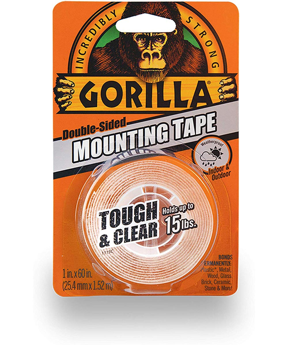 Gorilla Tough & Clear Double Sided Mounting Tape, 1 in. x 60 in., Up to 15 lbs.