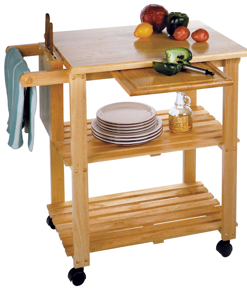 Winsome Wood Natural Solid Wood Kitchen Utility Cart