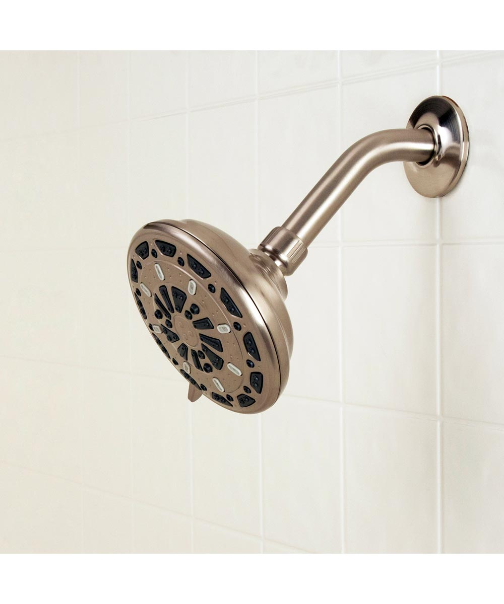 Waxman 5 in. Brushed Nickel Serene 3-Spray Fixed Shower Head