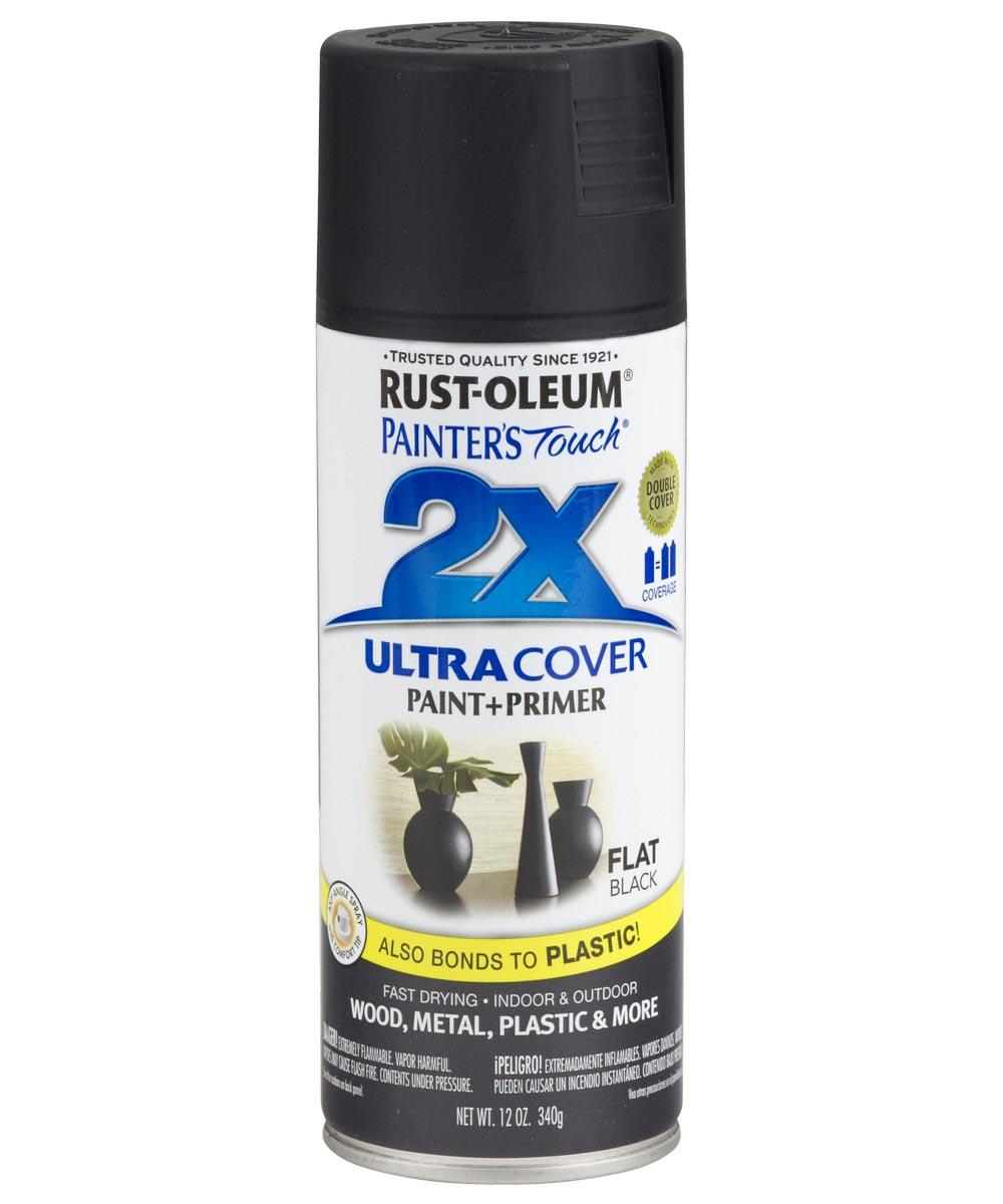 Painter's Touch 2X Ultra Cover Flat Spray, 12 oz Spray Paint, Flat Black