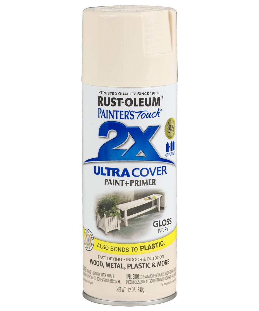 Painter's Touch 2X Ultra Cover Gloss Spray , 12 oz Spray Paint, Gloss Ivory