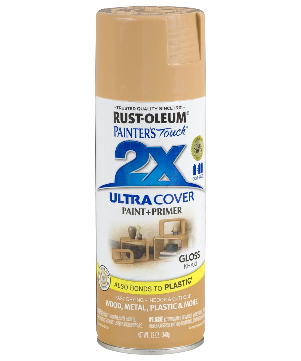 Painter's Touch 2X Ultra Cover Gloss Spray , 12 oz Spray Paint, Gloss Khaki