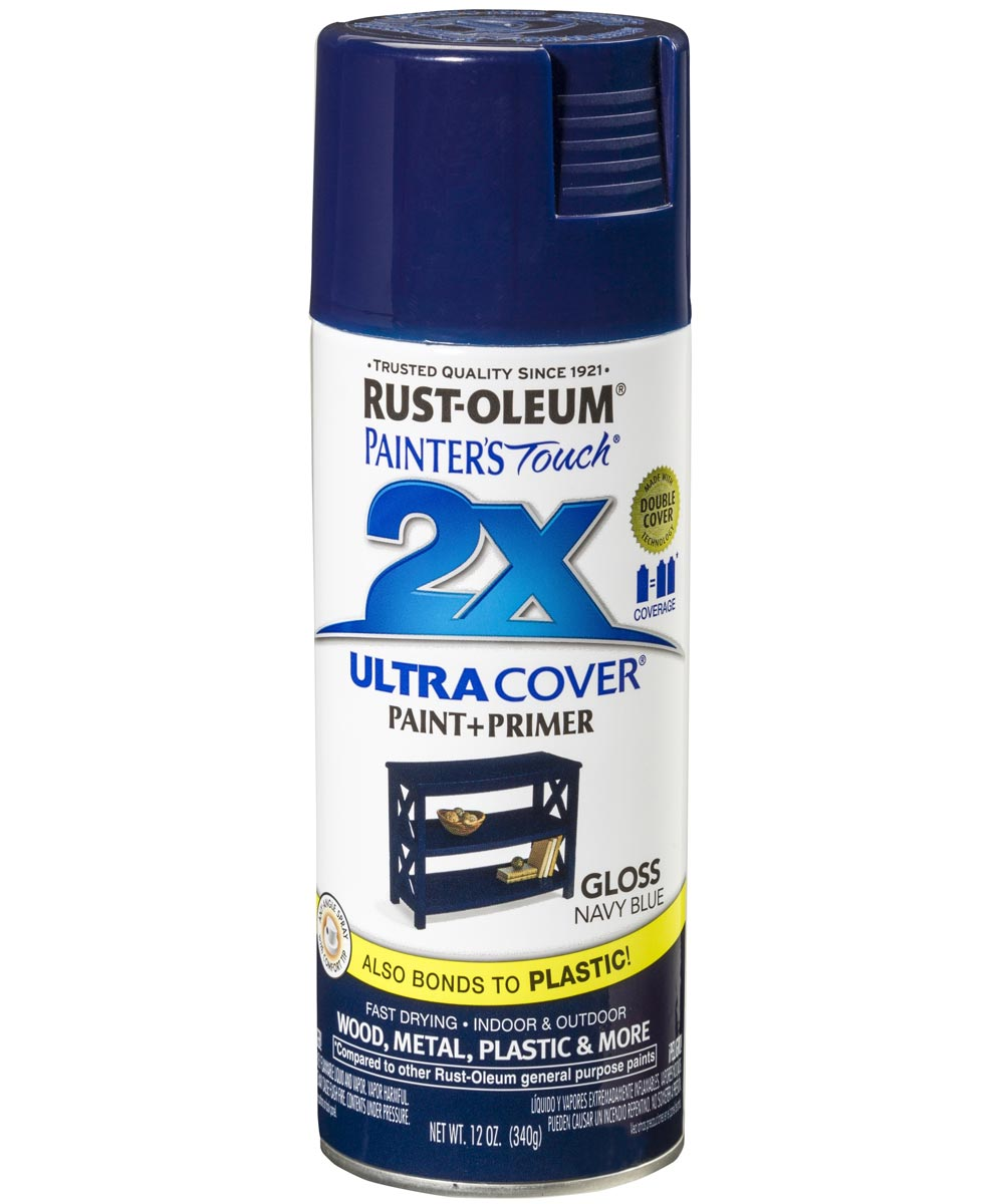 Painter's Touch 2X Ultra Cover Gloss Spray , 12 oz Spray Paint, Gloss Navy Blue
