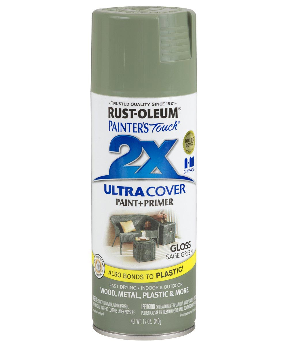 Painter's Touch 2X Ultra Cover Gloss Spray , 12 oz Spray Paint, Gloss Sage Green