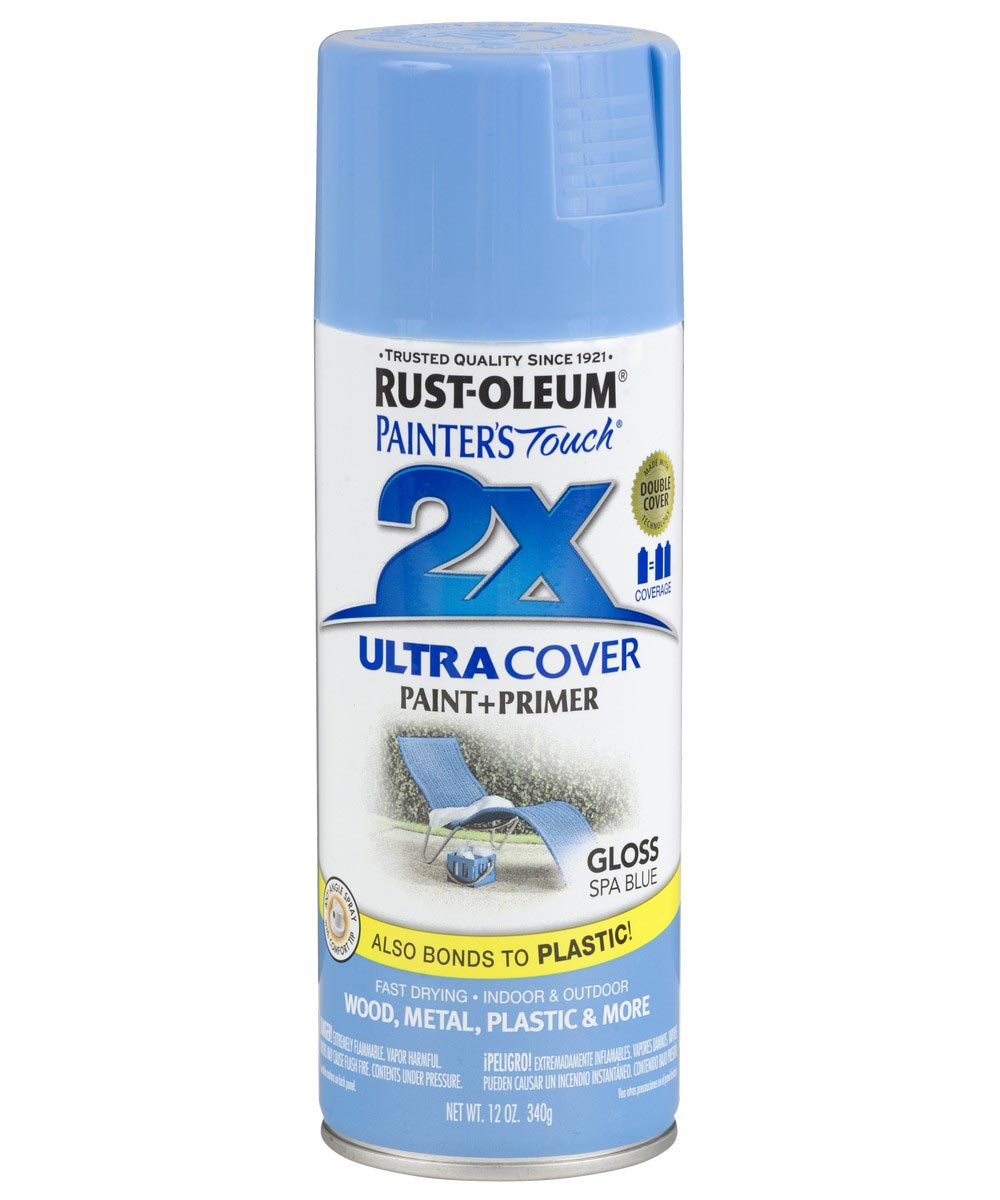 Painter's Touch 2X Ultra Cover Gloss Spray , 12 oz Spray Paint, Gloss Spa Blue