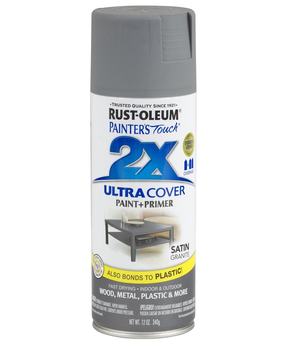 Painter's Touch 2X Ultra Cover Satin Spray, 12 oz Spray Paint, Satin Granite