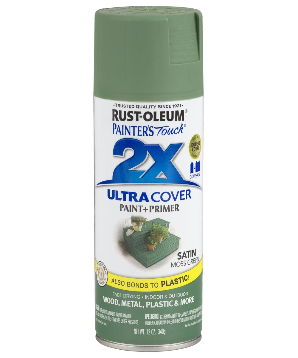 Painter's Touch 2X Ultra Cover Satin Spray, 12 oz Spray Paint, Satin Moss Green