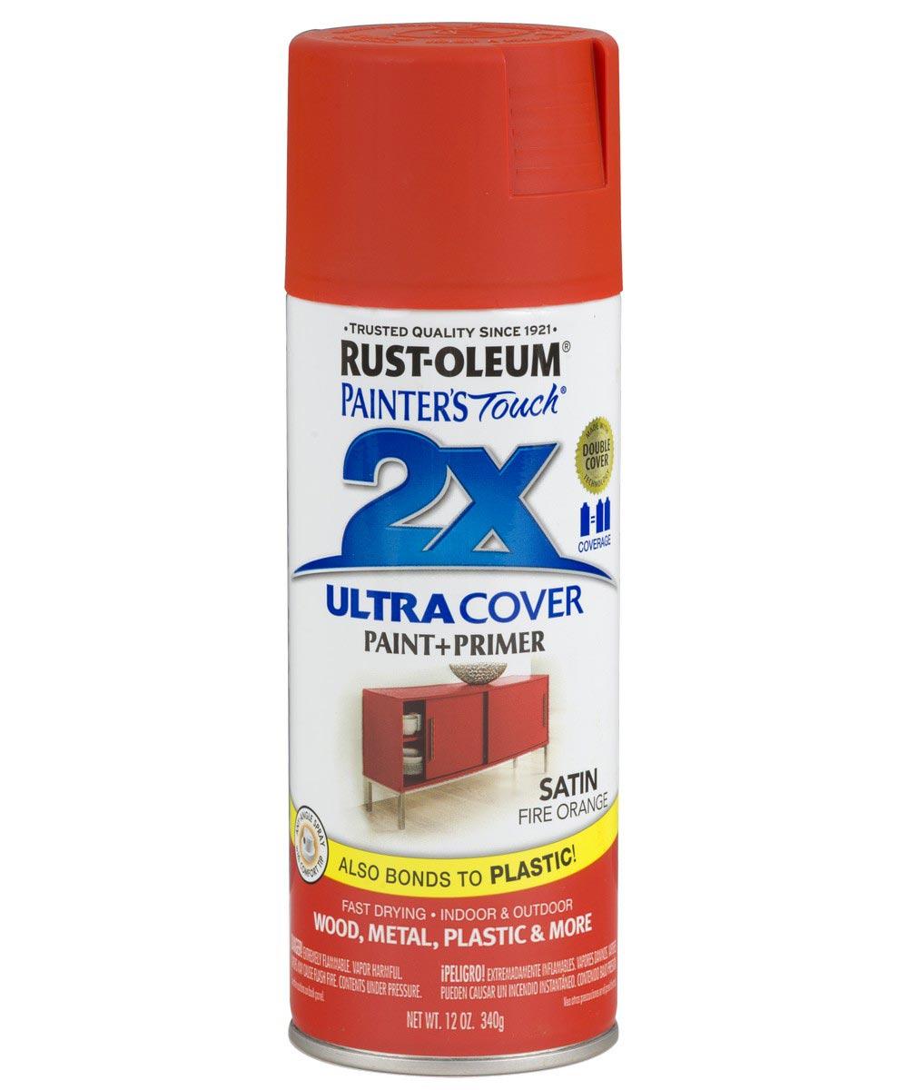 Painter's Touch 2X Ultra Cover Satin Spray, 12 oz Spray Paint, Satin Fire Orange