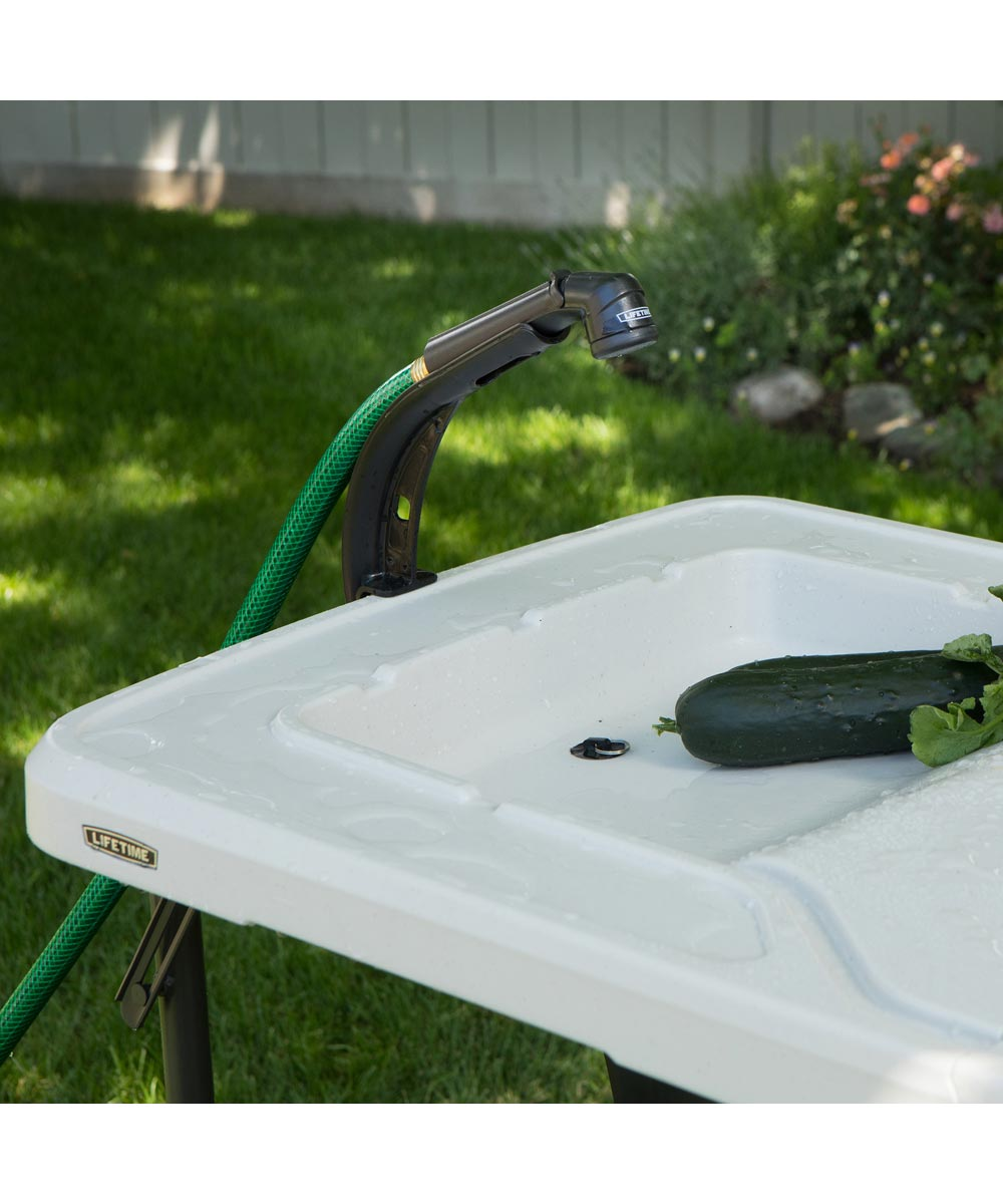 Lifetime 4 ft. Fillet Fold-in-Half Folding Outdoor Utility Table with Integrated Washbasin & Hose Attachment