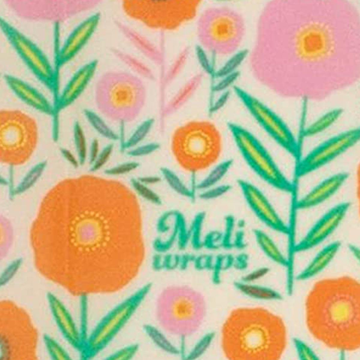 Meli Wraps 3-Pack (Sm/Med/Lrg) Reusable Beeswax Food Wrap, Bloom Print