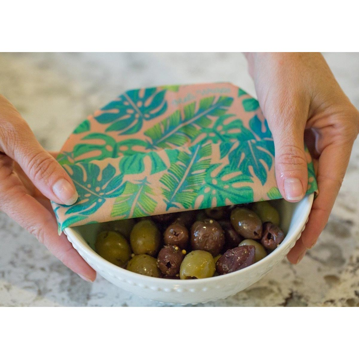 Meli Wraps 3-Pack (Sm/Med/Lrg) Reusable Beeswax Food Wrap, Kahanu (Monstera Pink) Print