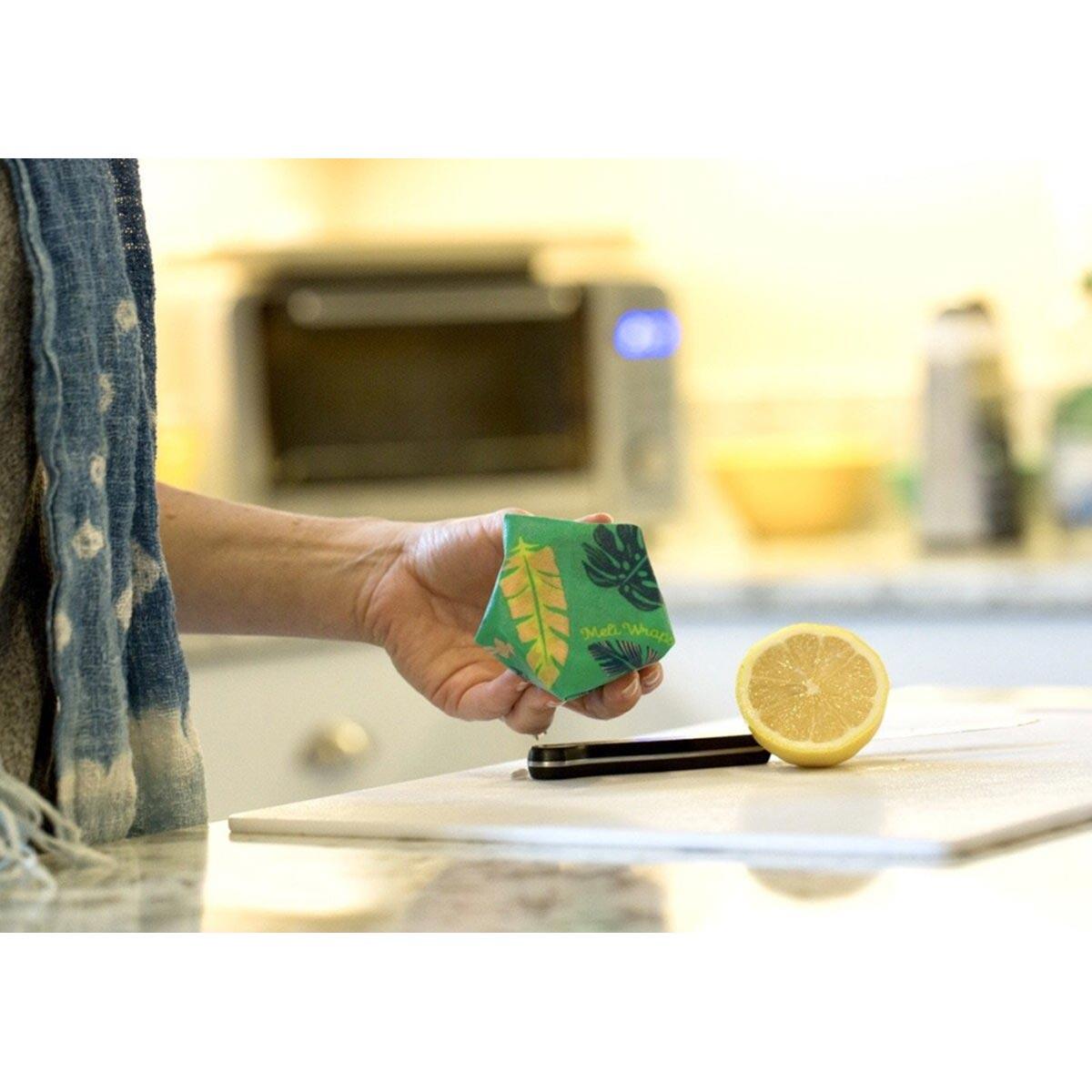 Meli Wraps 3-Pack (Sm/Med/Lrg) Reusable Beeswax Food Wrap, Lau (Monstera Green) Print